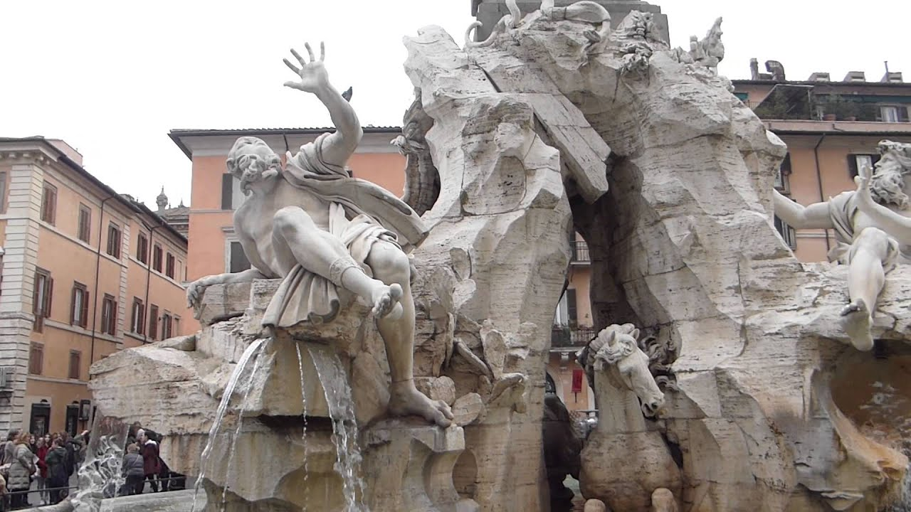 Bernini Fountain of Four Rivers, Piazza Navona, Rome - YouTube