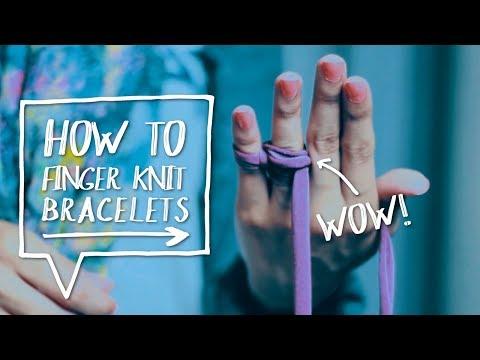 🖐DIY FINGER KNIT BRACELETS | How to Finger Knit DIY Fabric Bracelet Tutorial ✨ Alejandra's Styles