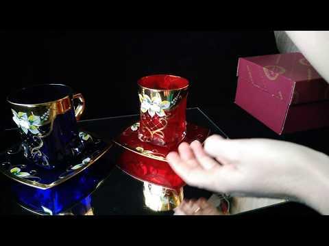 Чайные пары из богемского стекла с лепкой смальтой и золотом!