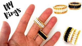 10 minutes DIY ring. Beaded rings for beginners. ring making tutorial