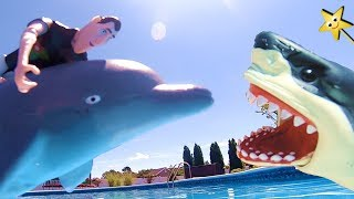 HOTEL TRANSYLVANIA 3 Mavis Swims With SHARKS | SHARK WEEK Pool Toy Videos for Kids