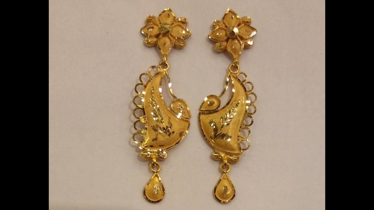 22ct Yellowgold Drop New Earrings Designs Goldplated Hangings Models