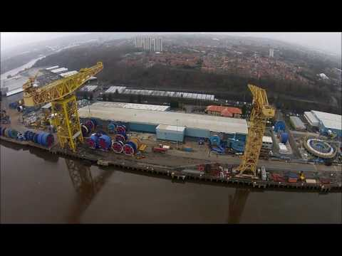 Shepherd Offshore Services cranes on the River Tyne. England.