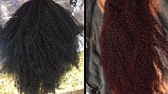 FROM BLACK TO RED | DYING MY HER GIVEN HAIR CURLY U PART WIG