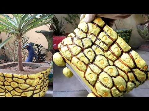 How to make beautiful cement pot at home easily    Cement craft ideas.