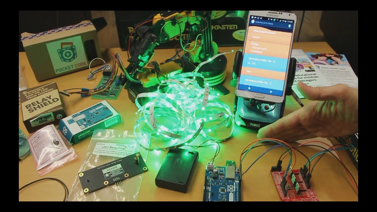 Pocket code demo with phiro and arduino at the same time