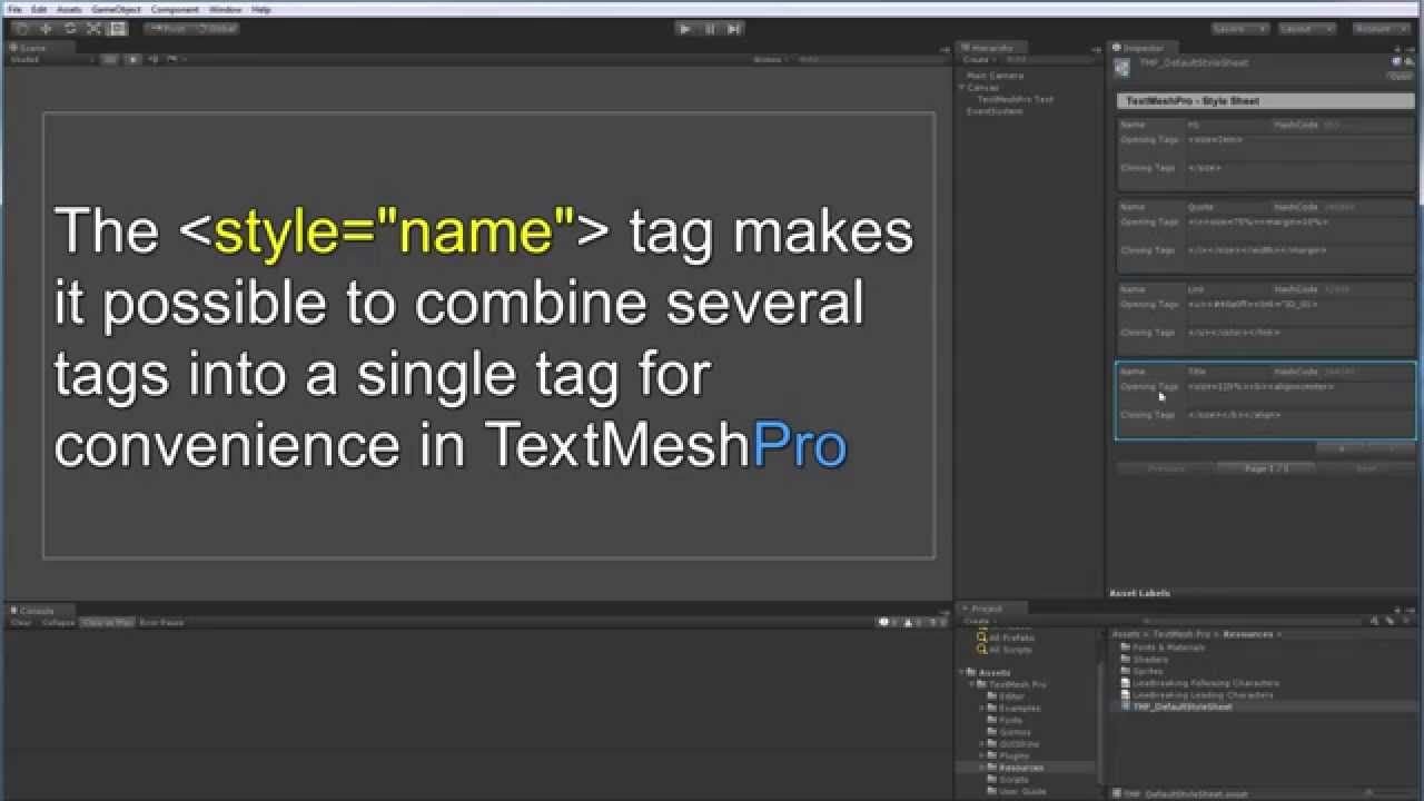 TextMesh Pro - Style Tag Overview
