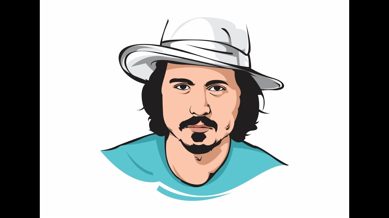 Line Art Coreldraw Tutorial : Corel draw simple vector art johnny deep line