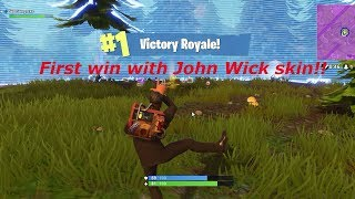 FORTNITE FIRST WIN WITH JOHN WICK SKIN SOLO GAMEPLAY