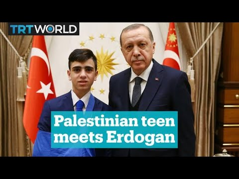 Palestinian teenager meets Turkey's President Recep Tayyip Erdogan