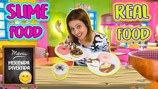 connectYoutube - Slime food Vs Real Food Challenge | Haciendo comida de Slime | Making slime food ! 🍩☕