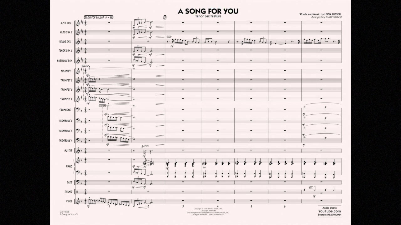 A Song for You (Tenor Sax Feature) | Hal Leonard Online