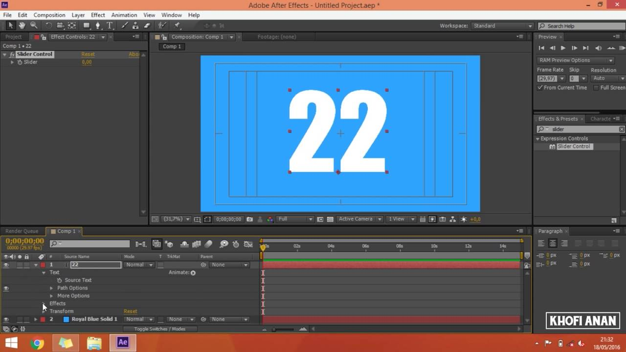 Animated Counting Numbers In After Effects  Slider Control