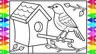 How to Draw a BIRD for Kids | Bird Drawing and Coloring Pages for Kids 💙💚💜💖