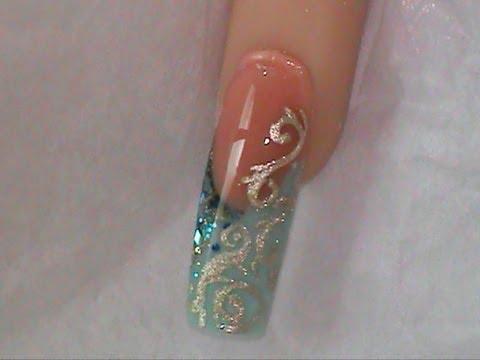 Acrylic nails Design Aqua Gold - Acrylic Nails Design Aqua Gold - YouTube
