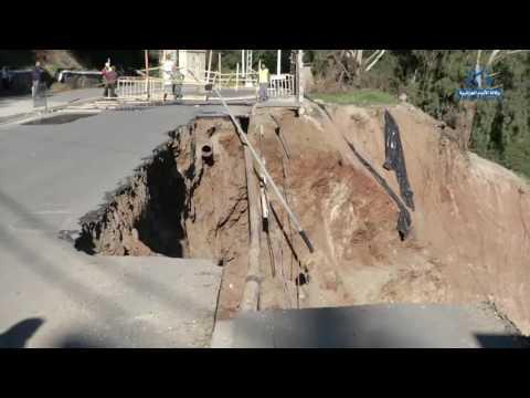 إنهيار جزء من الطريق إثر سقوط جدار سندي لأشغال انجاز فندق وعيادة ببلدية بوزريعة