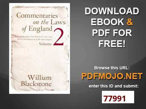 Commentaries on the Laws of England Vol 2