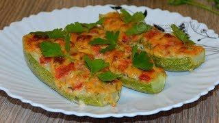 Лодочки из кабачков с фаршем и сыром. Zucchini boats with minced meat and cheese.