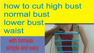 How to Use High Bust,Normal Bust,Lower Bust,Waist to any Dress/Easy Method and Formula