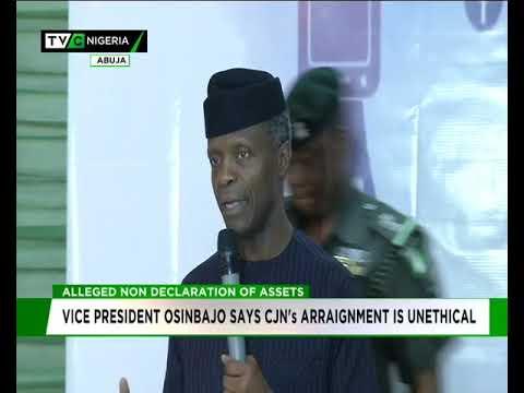 Osinbajo says CJN's arraignment is unethical