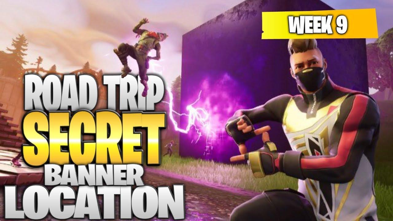 Fortnite Battle Royale Season 5 Week 9 Secret BANNER Location Road Trip Challenges  YouTube