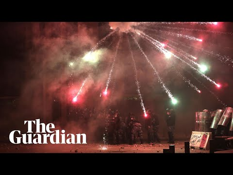 Fireworks flew as protesters clashed with security forces in Beirut