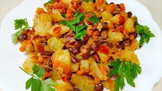 Вкусное овощное рагу. Рецепт с фасолью. Простое постное блюдо!