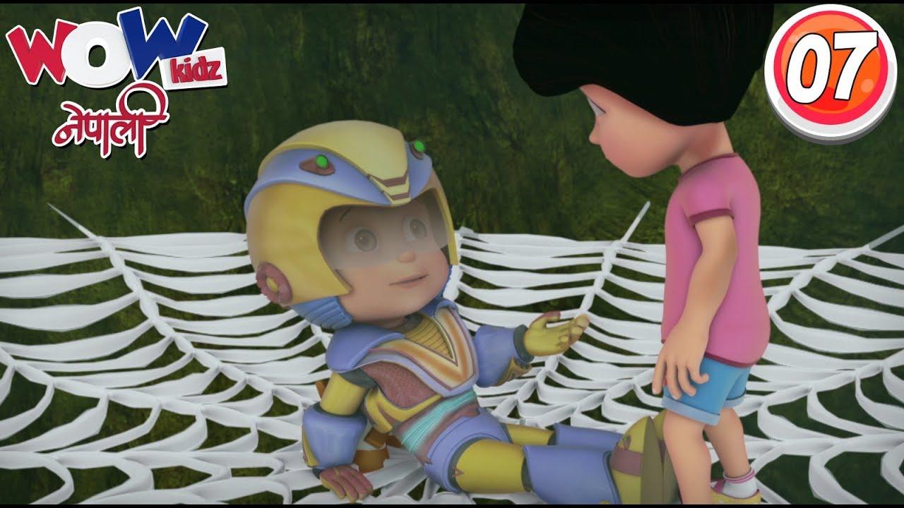 Vir the robot boy | Nepali Cartoon | The Giant Spider | Nepali Story for Kids | Wow Kidz Nepali