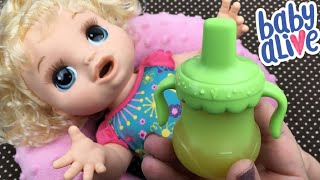 Feeding and Changing Baby Alive Happy Hungry Baby Doll