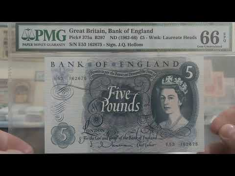 Graded Banknotes - Five British Pound & 5 Hong Kong Dollar Notes