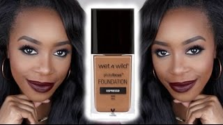 NEW! WET N WILD PHOTO FOCUS FOUNDATION ON DARK SKIN | REVIEW + DEMO | Andrea Renee