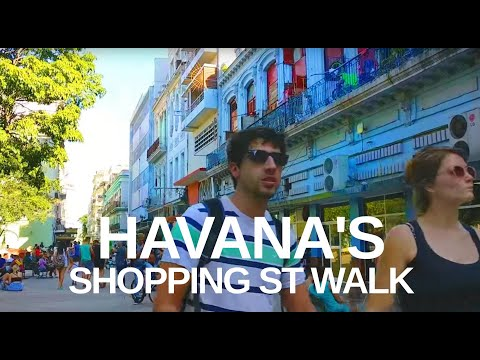 [4K] Havana, Cuba - Downtown Shopping Street Walking Tour