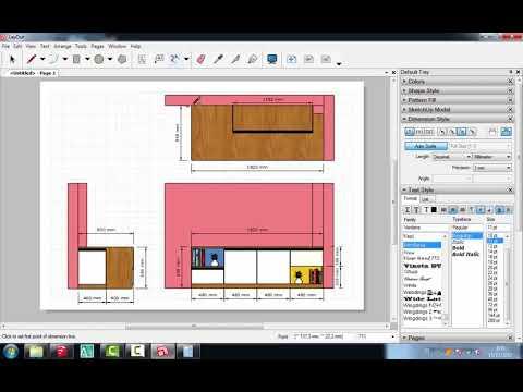 SketchUp Layout Interior Detail Cabinet Credenza Custom #3_Teknik_Dasar_Step_by_Step
