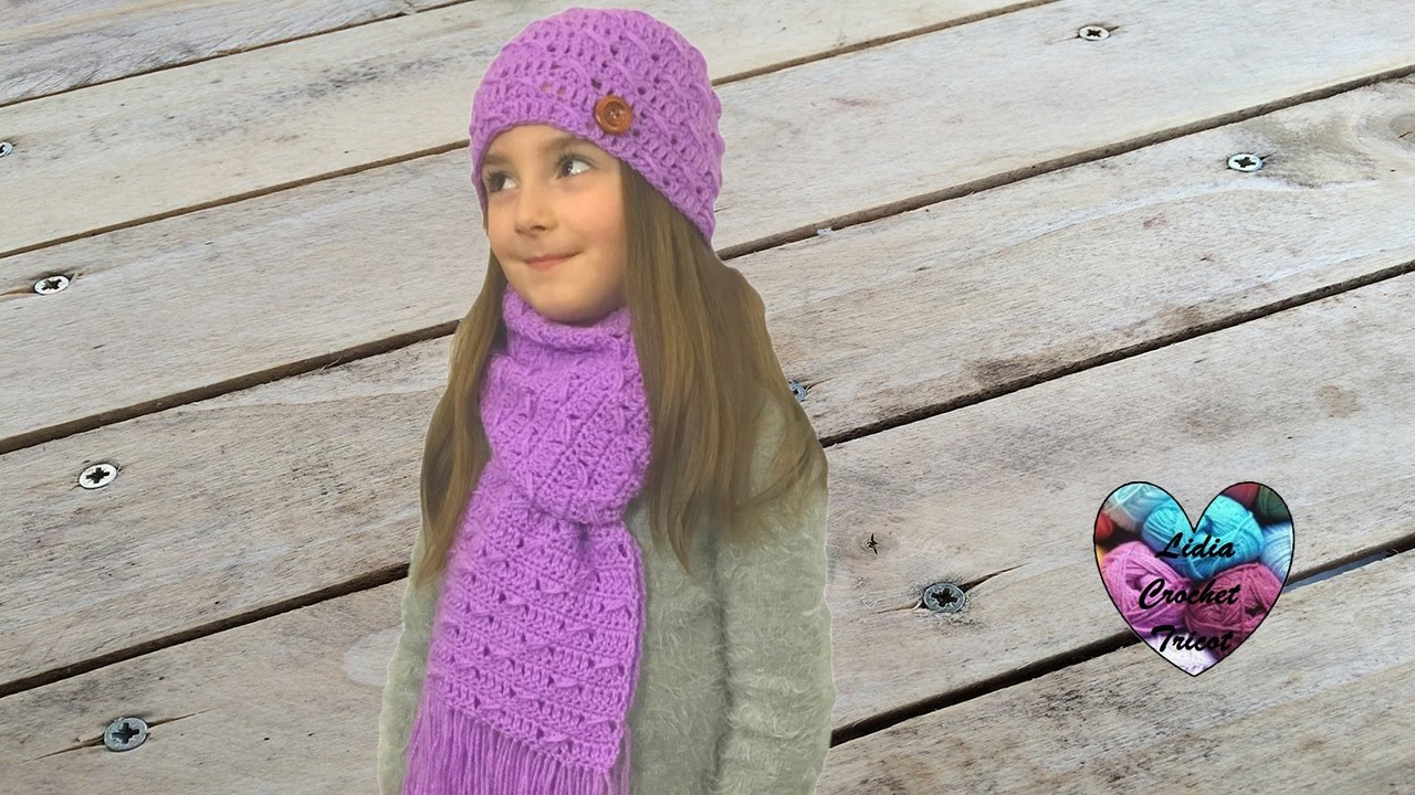 mode designer a4b3c 0092a Scarf and hat set crochet all sizes (english subtitles) 1/2