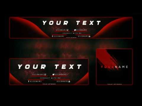 free red youtube banner header and avatar rebrand template 2015 psd. Black Bedroom Furniture Sets. Home Design Ideas