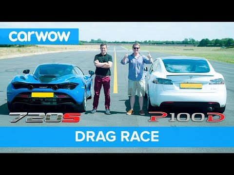 Tesla Model S P100d Vs Mclaren 720s Drag Race Rolling Brake Test Mat Shmee Pt 4