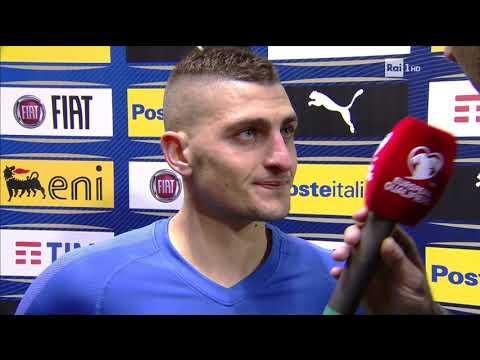 Italia 6-0 Liechtenstein intervista post partita a Marco Verratti 26-3-2019