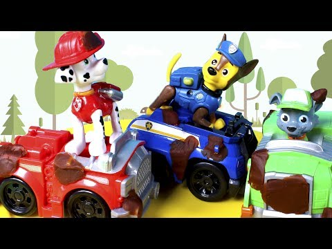 PAW PATROL Toys Episodes ❤ Chase and Marshall save little bird and afterwards clean their muddy cars