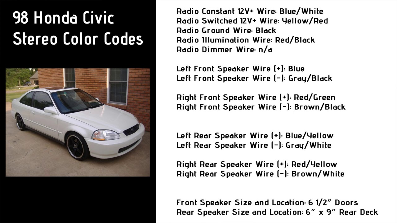 medium resolution of 1998 honda civic stereo wiring color codes 6th generation honda honda civic 2000 radio wiring 1998