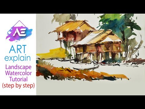House Watercolor Painting Landscape Tutorial | How to paint a watercolor landscape | Art Explain