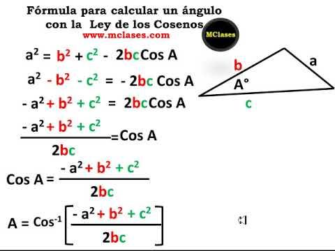 Fórmula Para Calcular Un ángulo Con La Ley De Cosenos Youtube