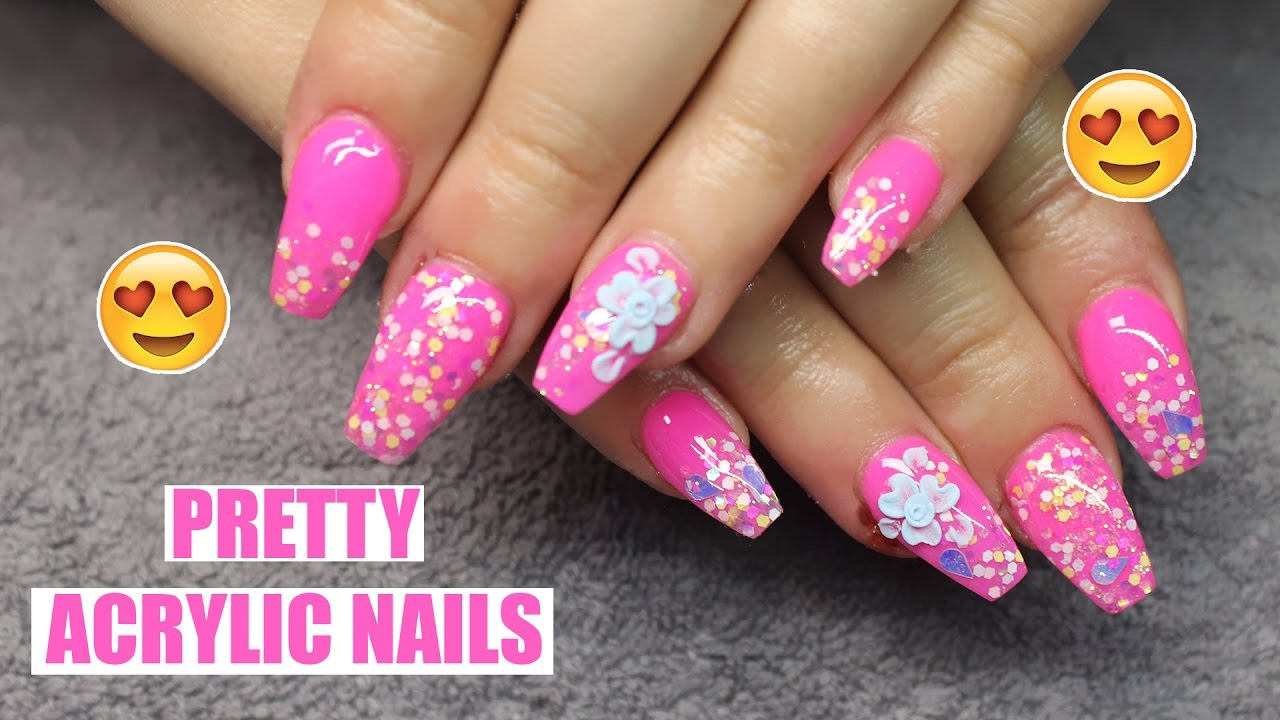 cute af acrylic nails hot pink and pastel glitter | ninja fairy