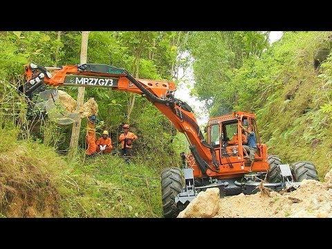 Spider Excavator Clearing Landslide Euromach R145