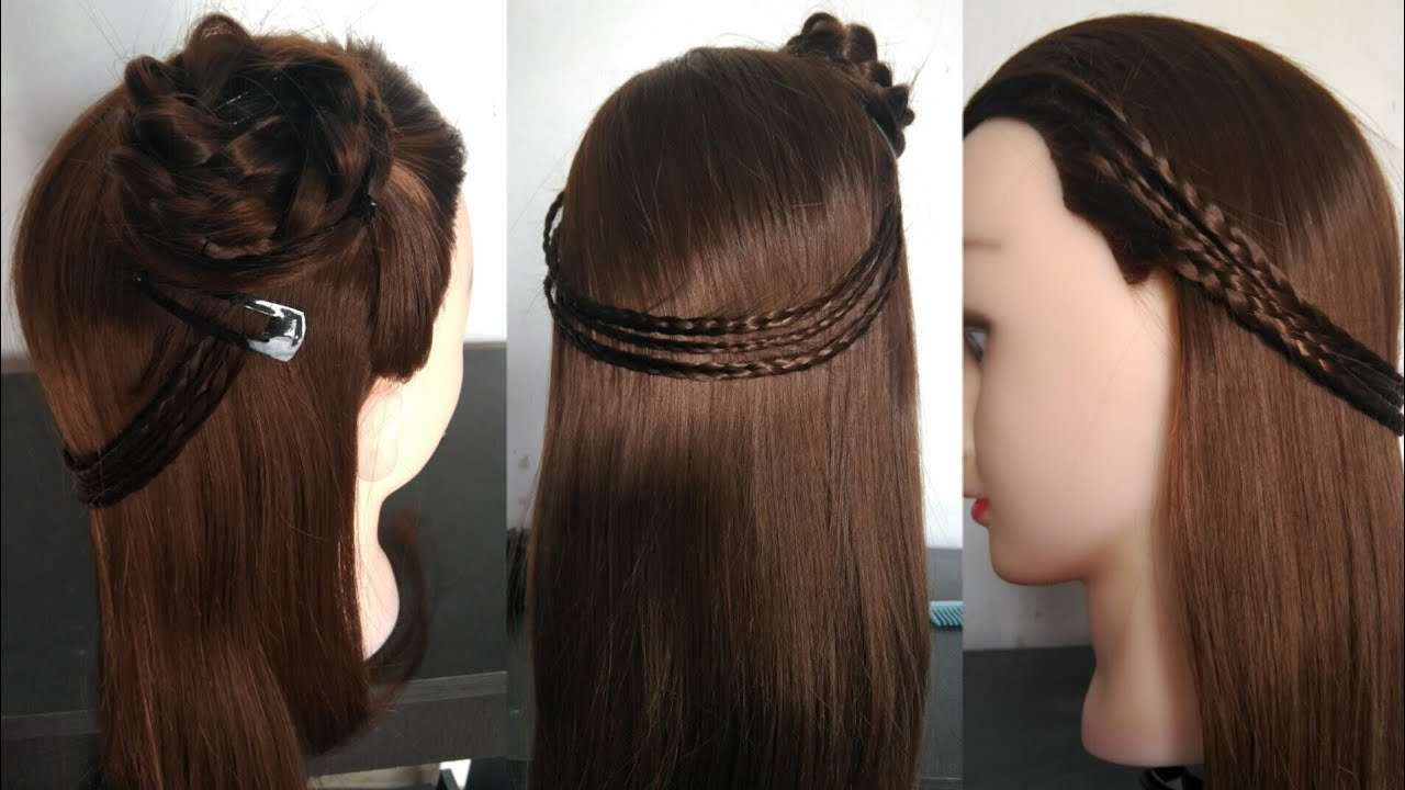 Party Hairstyle 2017 For Young Girls Braided Flower Rosette