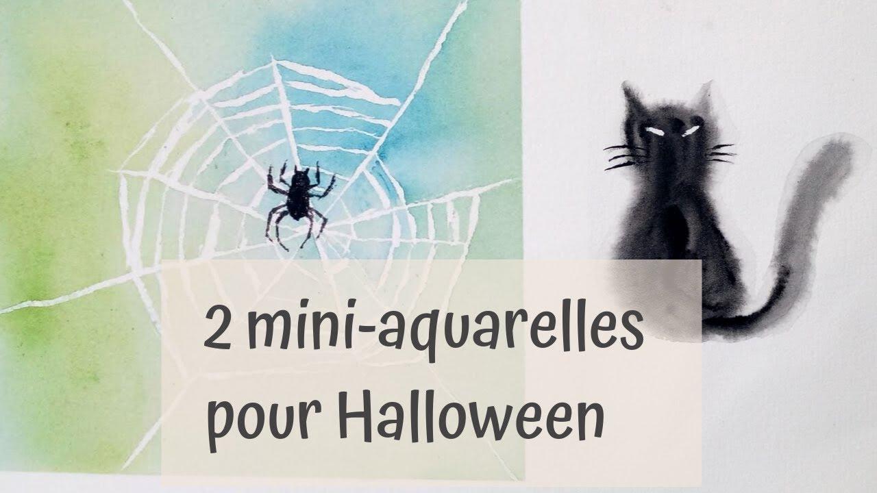 Aquarelle Halloween Un Chat Noir Et Une Toile D Araignee