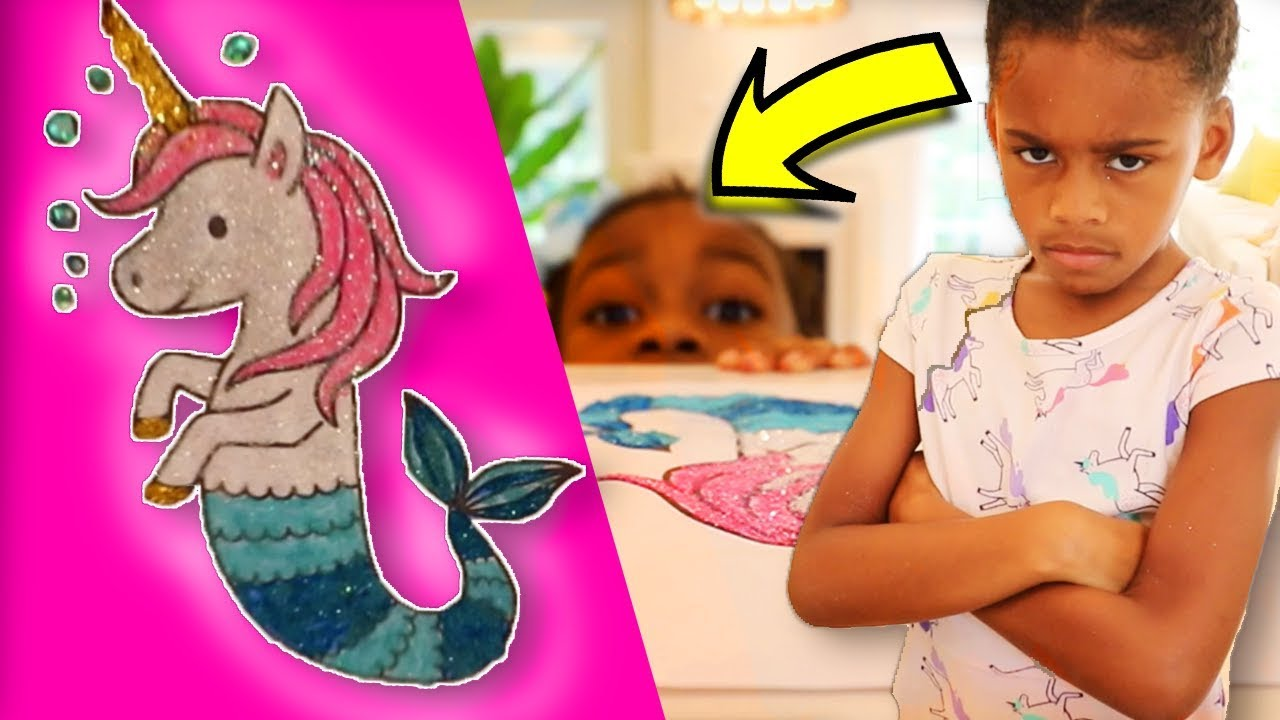 Cute Mermaid Unicorn Fish with Glitter Bubbles ! Toy Art coloring and drawing