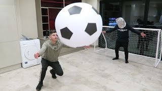 INDOOR GIANT FOOTBALL CHALLENGE!!