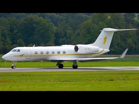 Gulfstream G450 HZ-SK3 from Saudi Arabia Take-Off at Bern