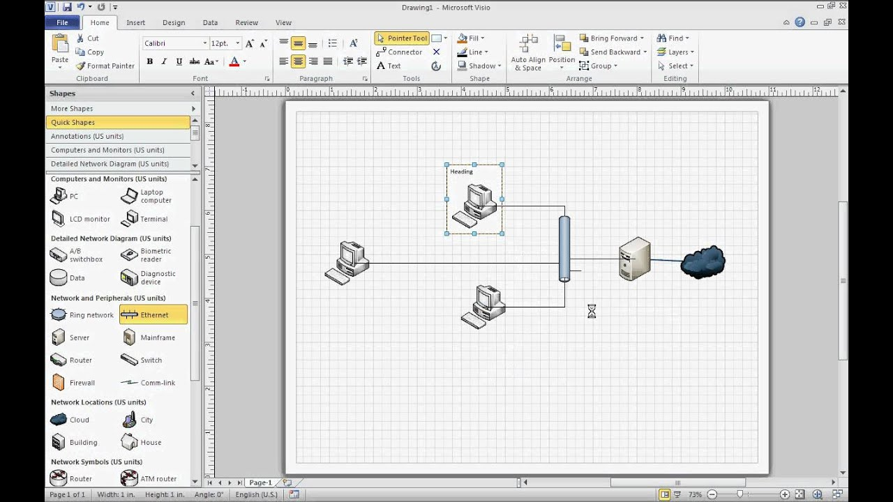 Microsoft visio 2010 basic network diagram youtube for Visio detailed network diagram template