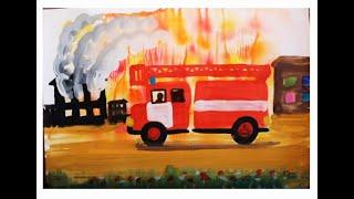 Как нарисовать пожарную машину поэтапно. Видео урок рисования гуашью для детей 5-7 лет.(Как нарисовать пожарную машину ребенку? Очень просто! Смотрите видео уроки рисования для детей на канале..., 2016-02-13T15:30:43.000Z)